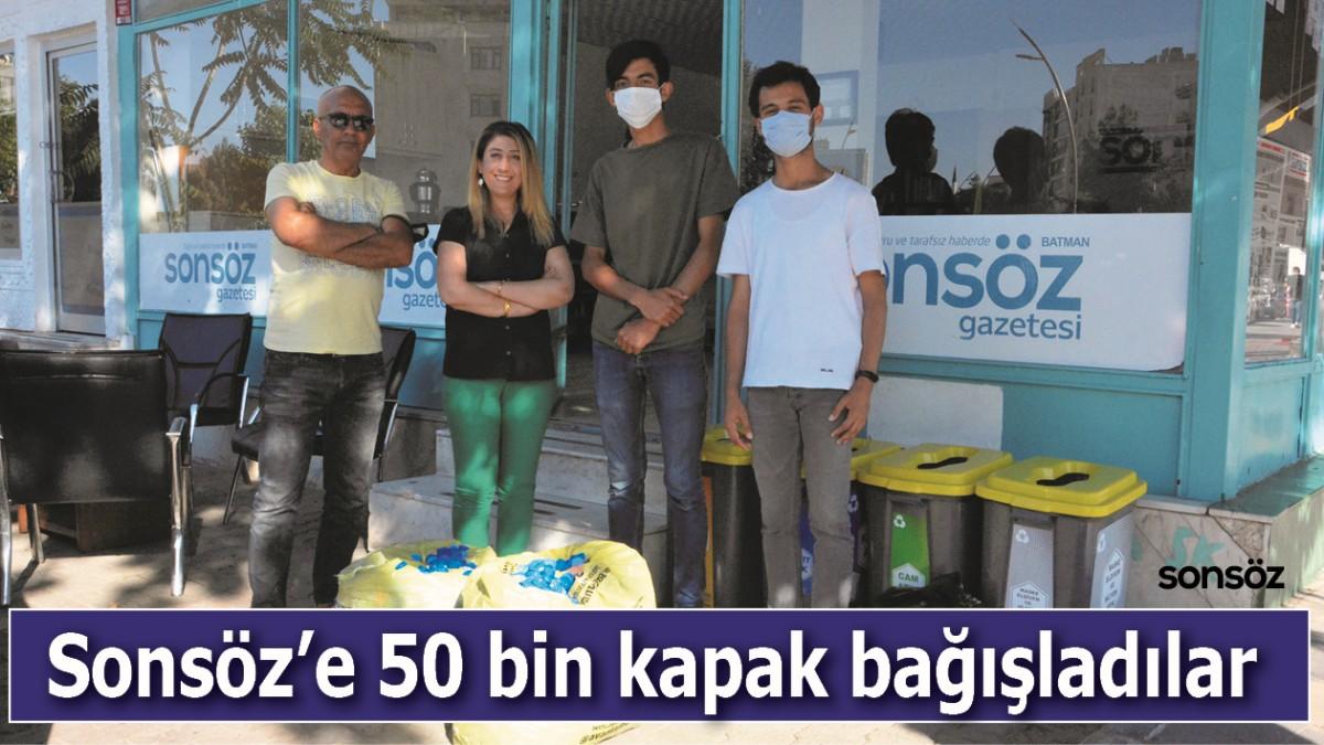 SONSÖZ'E 50 BİN KAPAK BAĞIŞLADILAR