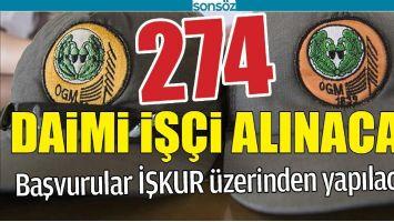 274 DAİMİ İŞÇİ ALINACAK