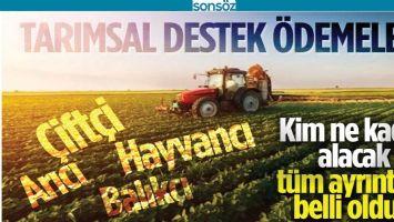 TARIMSAL DESTEKLER BELİRLENDİ